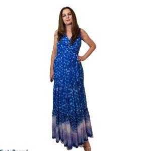 NWT DKNY Tie-Dye Chiffon Sleeveless Maxi Dress 12